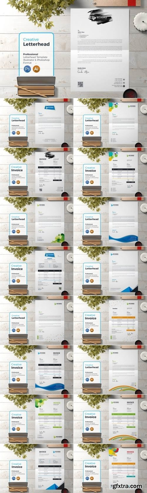 Business Letterhead and Invoice Template Bundle 2