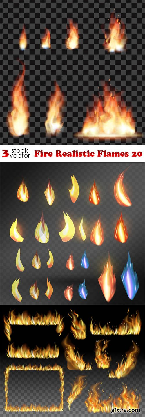 Vectors - Fire Realistic Flames 20