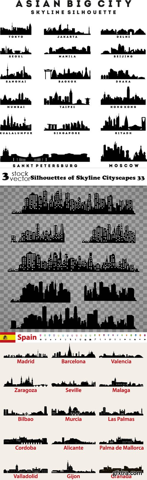 Vectors - Silhouettes of Skyline Cityscapes 33