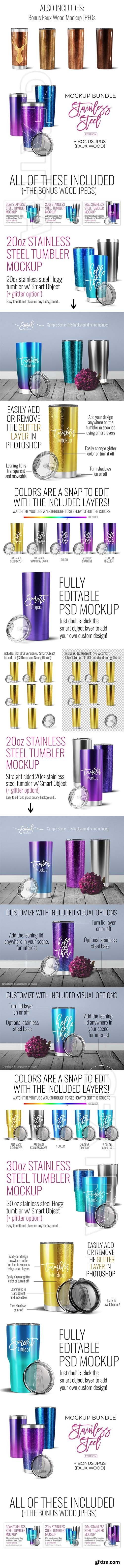 CreativeMarket - Stainless Tumbler Mockup Bundle 2578366