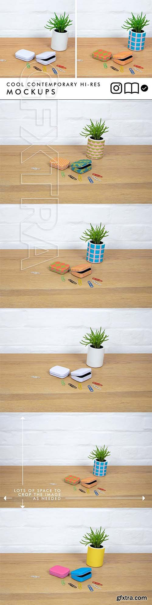 CreativeMarket - Tins and planter mockup 2534398
