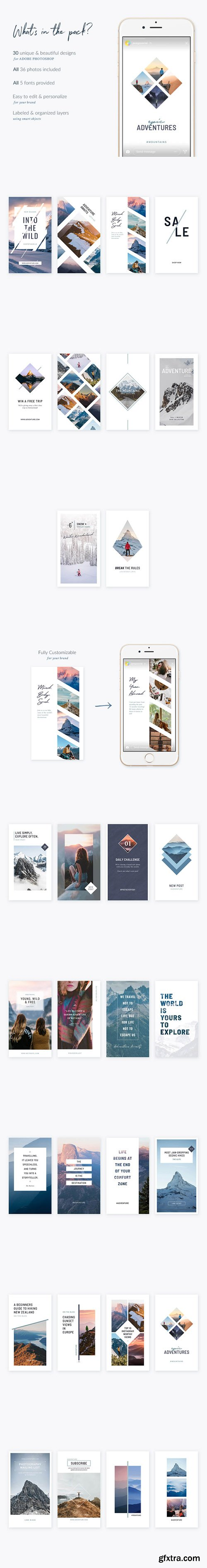 Mountains Instagram Stories - 30 Beautiful Instagram Story templates designed in Photoshop