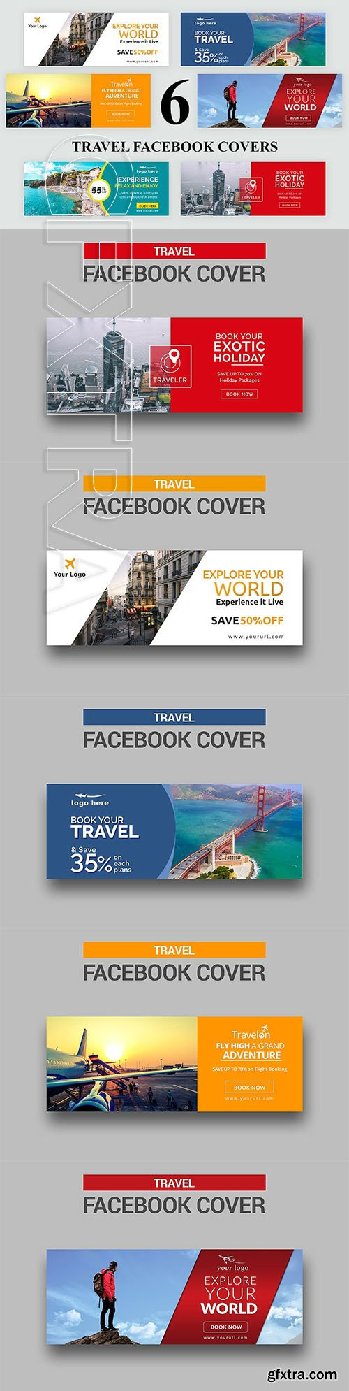 CreativeMarket - 6 Travel Facebook Covers 2577283