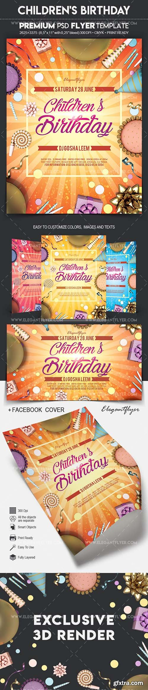 Childrens Birthday - Flyer PSD Template