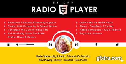 CodeCanyon - Sticky Radio Player v1.4.1 - Full Width Shoutcast and Icecast HTML5 Player - 16897465