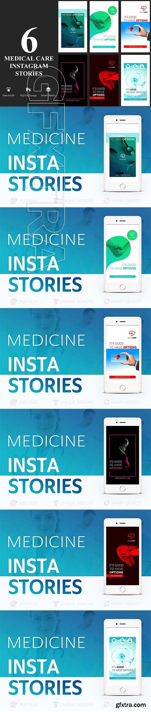CreativeMarket - 6 Medical Care Instagram Stories 2576861