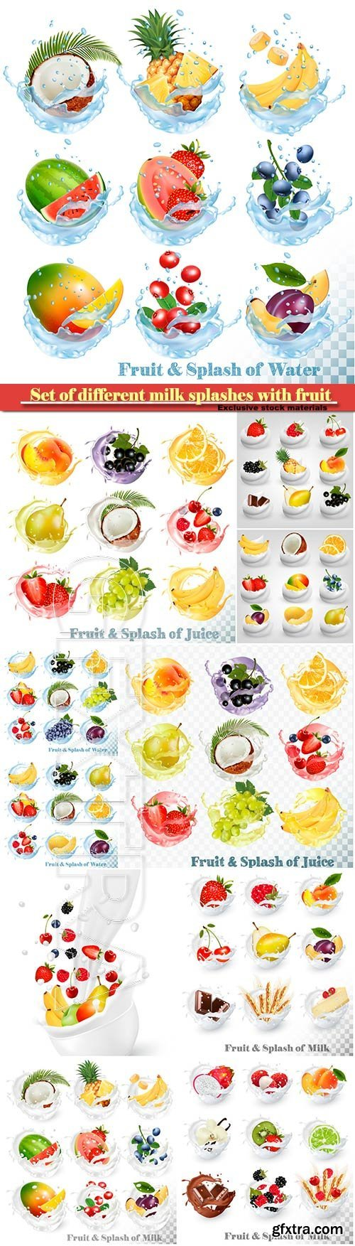 Set of different milk splashes with fruit, nuts and berries, strawberry, raspberry, blackberry, apricot, blueberry, lime, kiwi, vanilla, dragonfruit