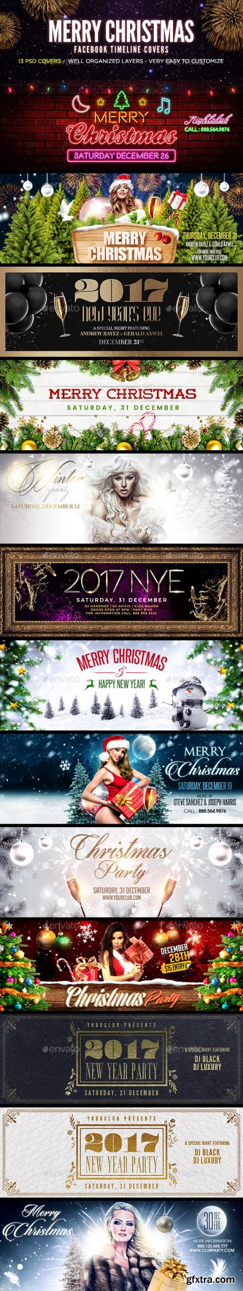 Graphicriver - Merry Christmas Facebook Cover 19166066