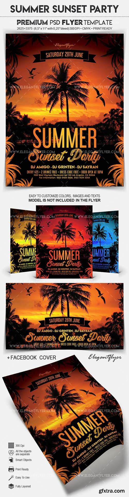 Summer Sunset Party - Flyer PSD Template