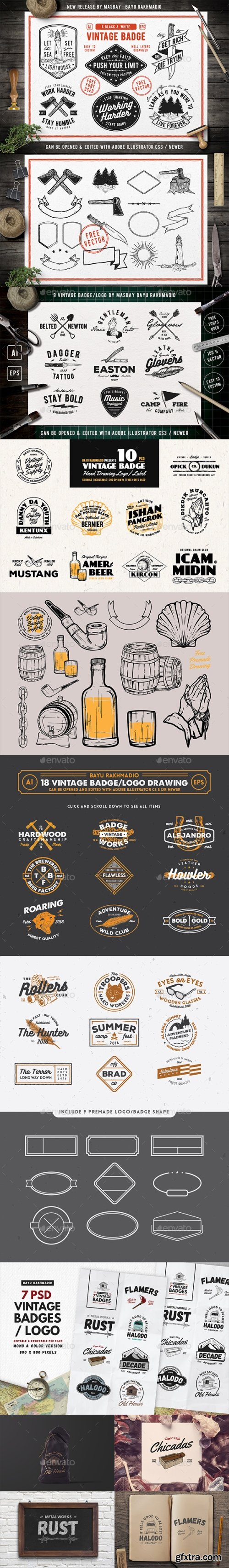 Graphicriver - 50 Vintage Badges Bundle 20547578