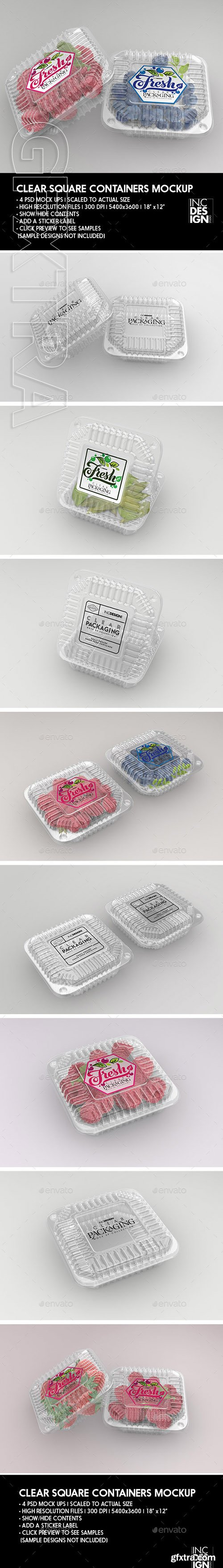 GR - Clear Square Clamshell Food Container Packaging Mockup 22066960