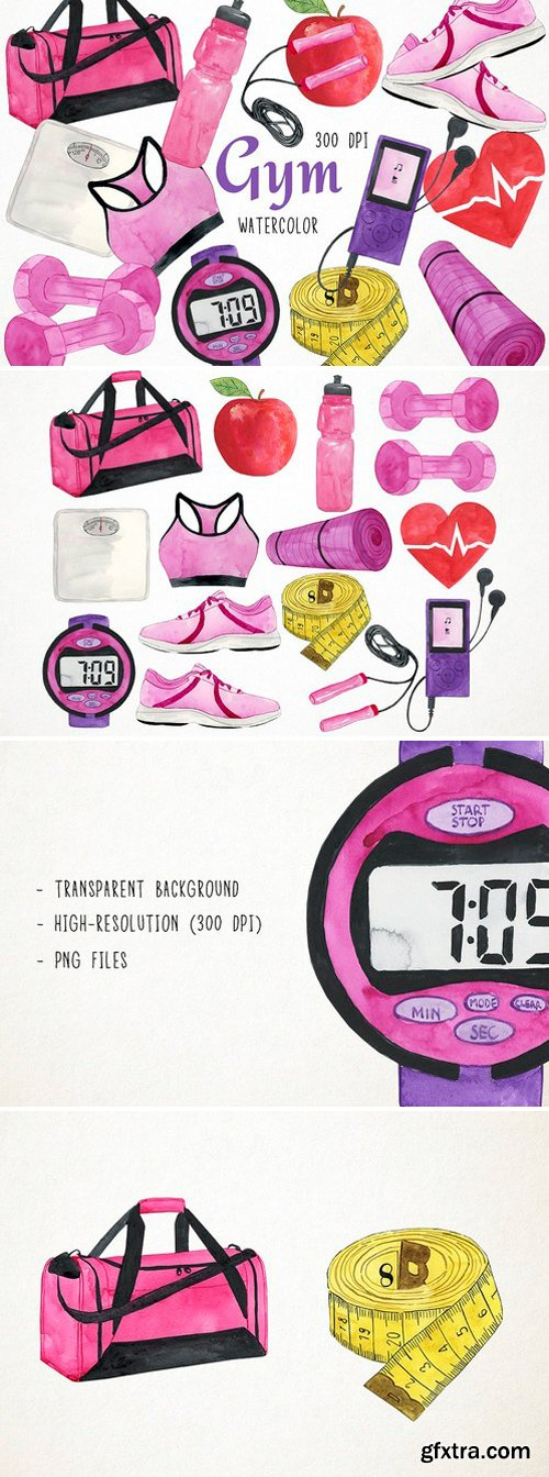 CM - Watercolor Fitness Clipart 2545123