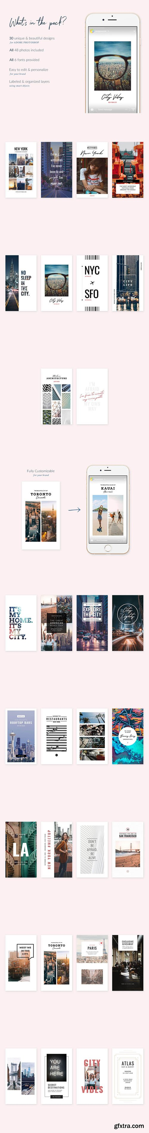 Cities Instagram Stories - 30 Beautiful Instagram Story templates designed in Photoshop
