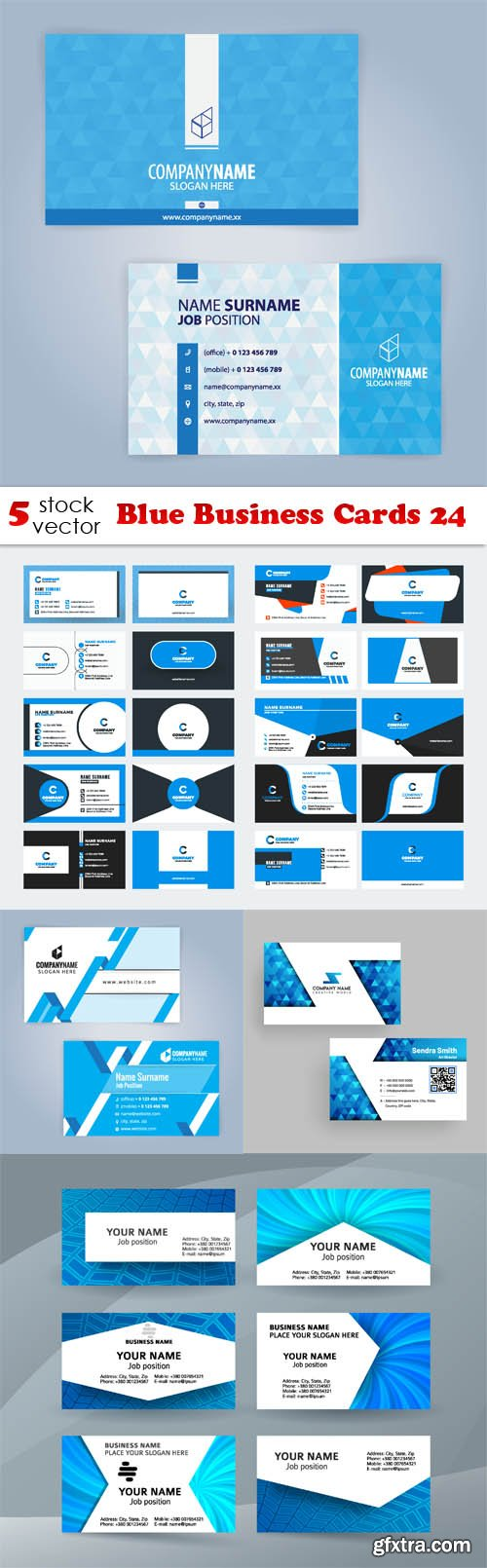 Vectors - Blue Business Cards 24