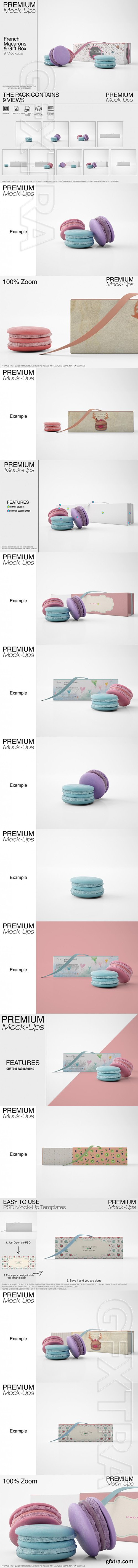 GR - French Macarons & Gift Box Mockup Pack 22050554