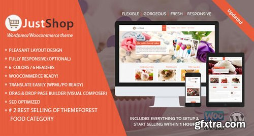 ThemeForest - Cake Bakery WordPress Theme - Justshop v8.2 - 4747148
