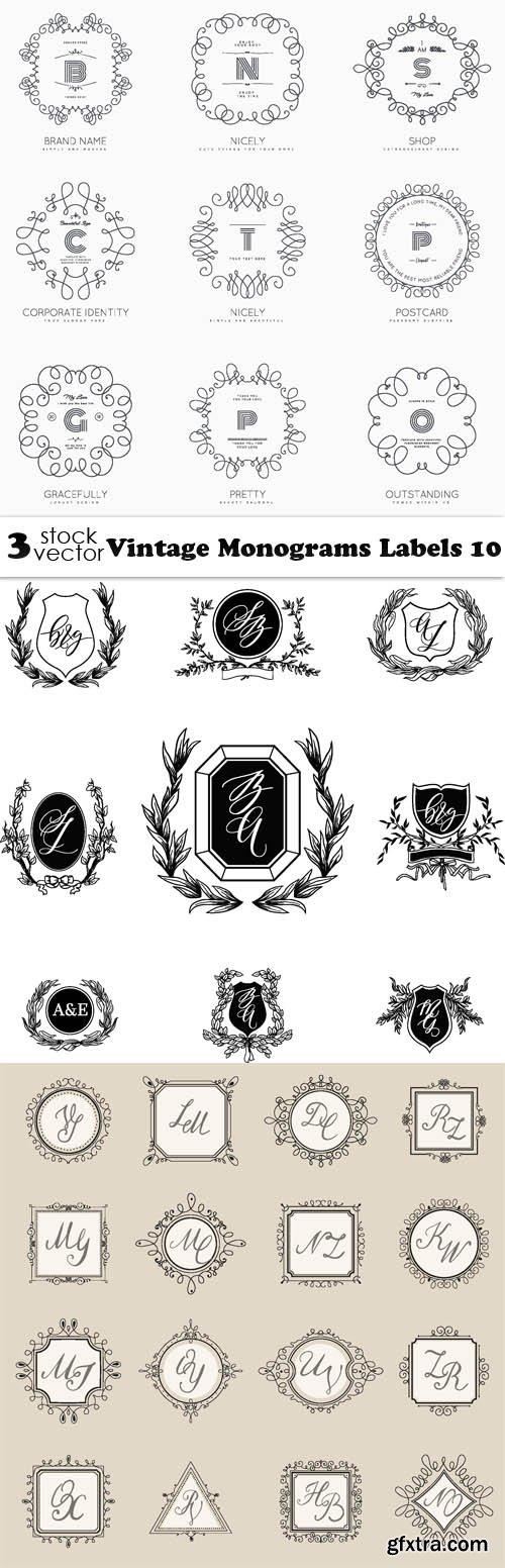 Vectors - Vintage Monograms Labels 10