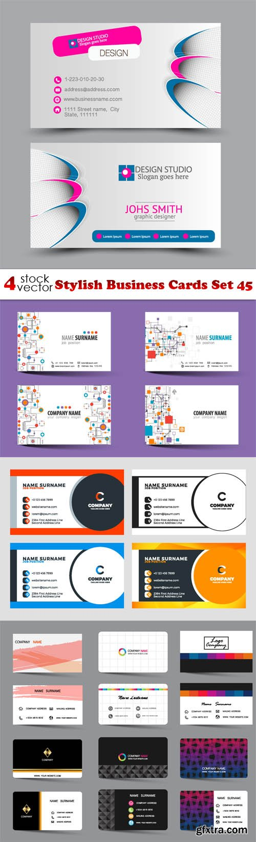 Vectors - Stylish Business Cards Set 45