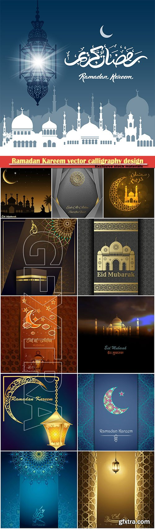 Ramadan Kareem vector calligraphy design with decorative floral pattern, mosque silhouette, crescent and glittering islamic background # 23