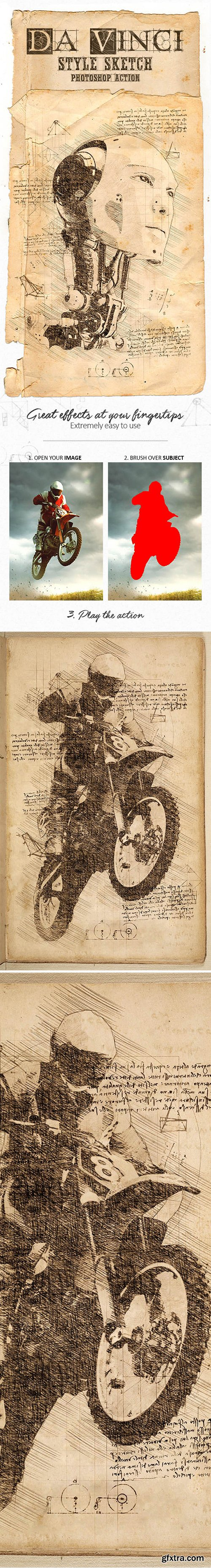 Graphicriver - Da Vinci Style Sketch Photoshop Action 18846644
