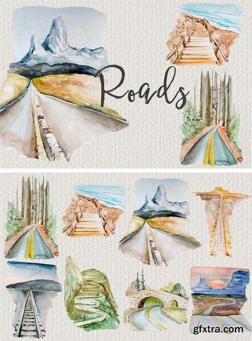 CM - Watercolor Roads Clipart Set 2481065