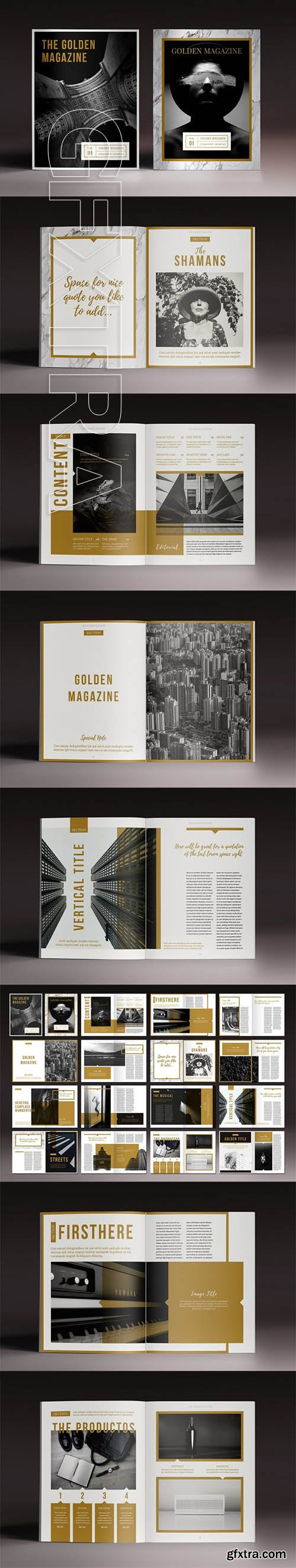 The Golden Magazine Indesign Template
