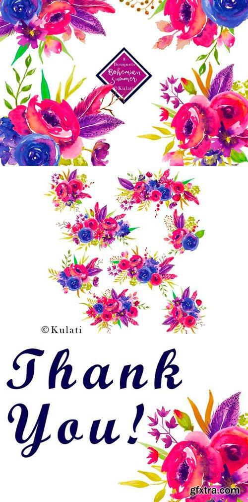 CM - 8 Watercolor Bouquets Clipart 2544989