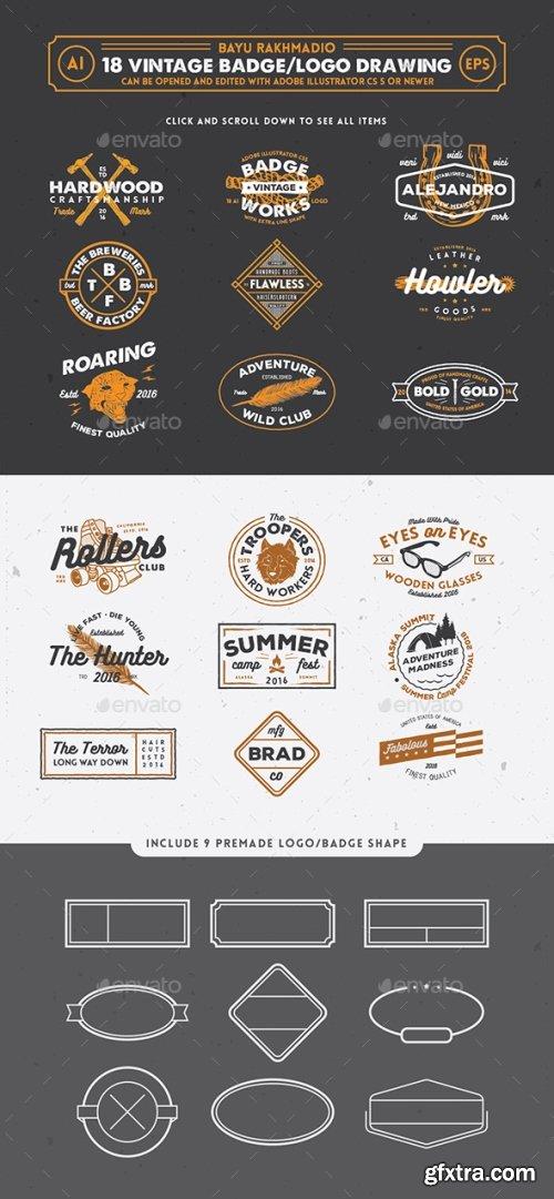 Graphicriver - 18 Hipster Vintage Badges 20519519