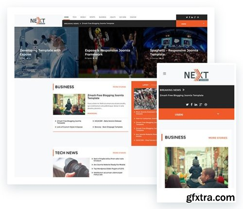ThemeXpert - Next v1.0 - Responsive News Template For Joomla