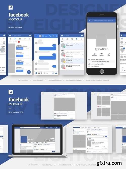 Facebook Mobile and Desktop Mock-Up Template