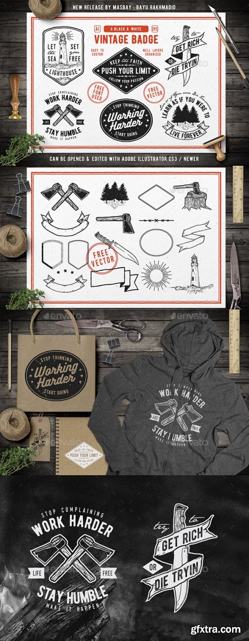 Graphicriver - 6 Hipster Vintage Badges 20492490