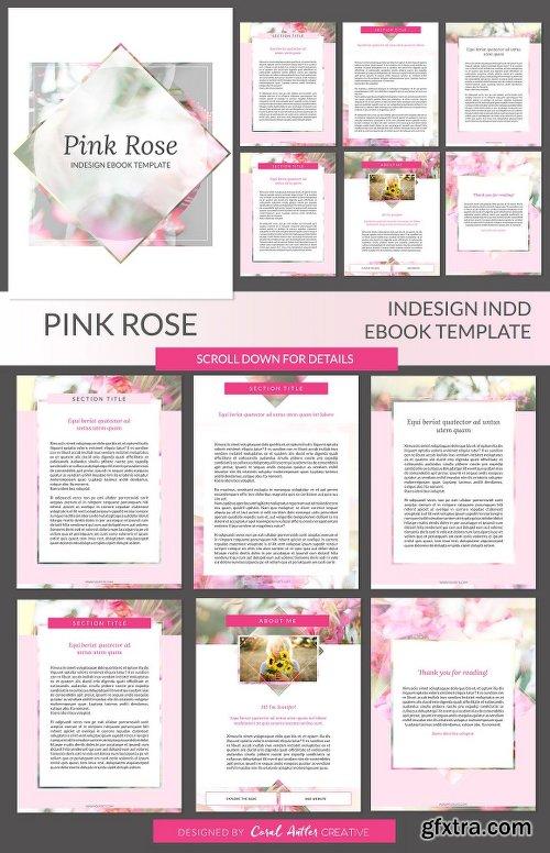 CreativeMarket Pink Rose ID Ebook Template 1978779