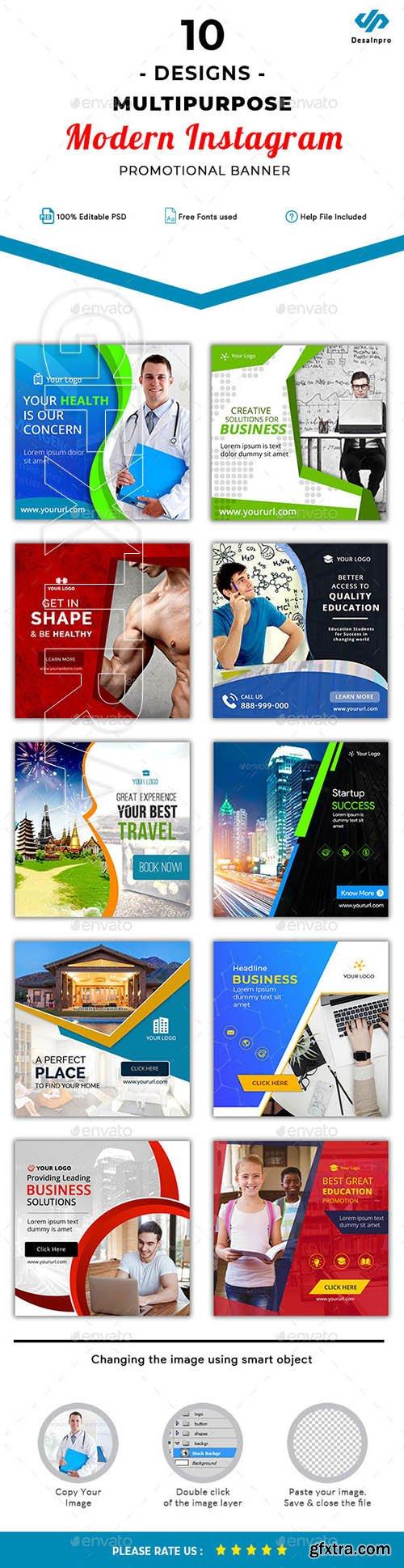GraphicRiver - 10 Multipurpose Instagram Template - AR 22069131