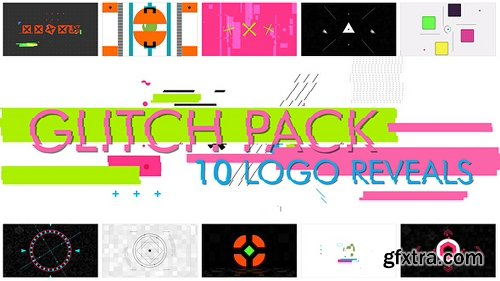 Videohive 10 Glitch Shapes logos 15688064
