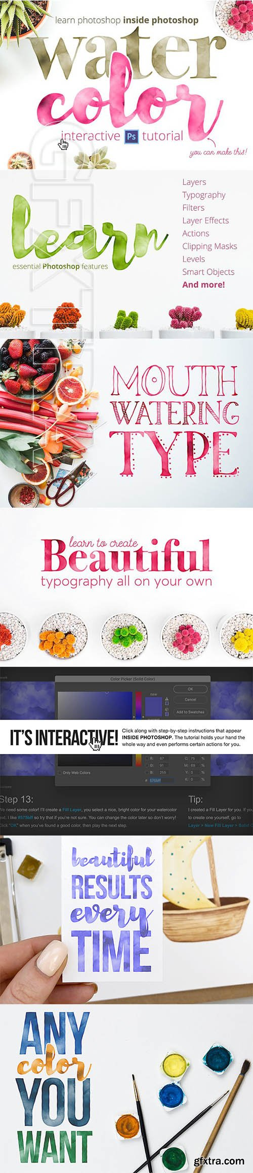CreativeMarket - Learn Photoshop Watercolor Tutorial 1274973