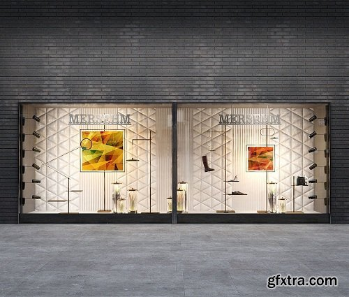 Shop window of shoes and accessories 3d Model