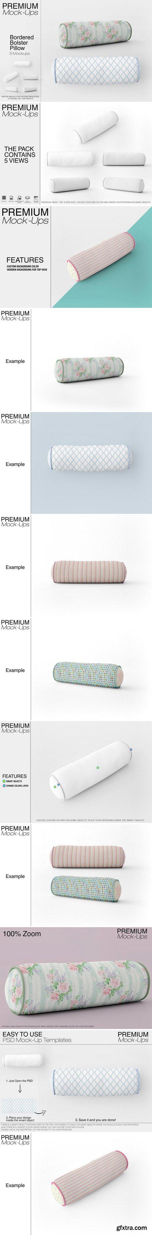 CM - Bordered Bolster Pillow Mockup Pack 2542085