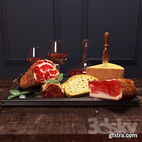 Meat with wine 3d model