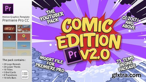 Videohive The YouTuber Pack - Comic Edition V2.0 | MOGRT For Premiere Pro CC 21822725