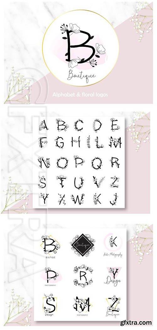 CreativeMarket - Floral Alphabet & Logos 2442383