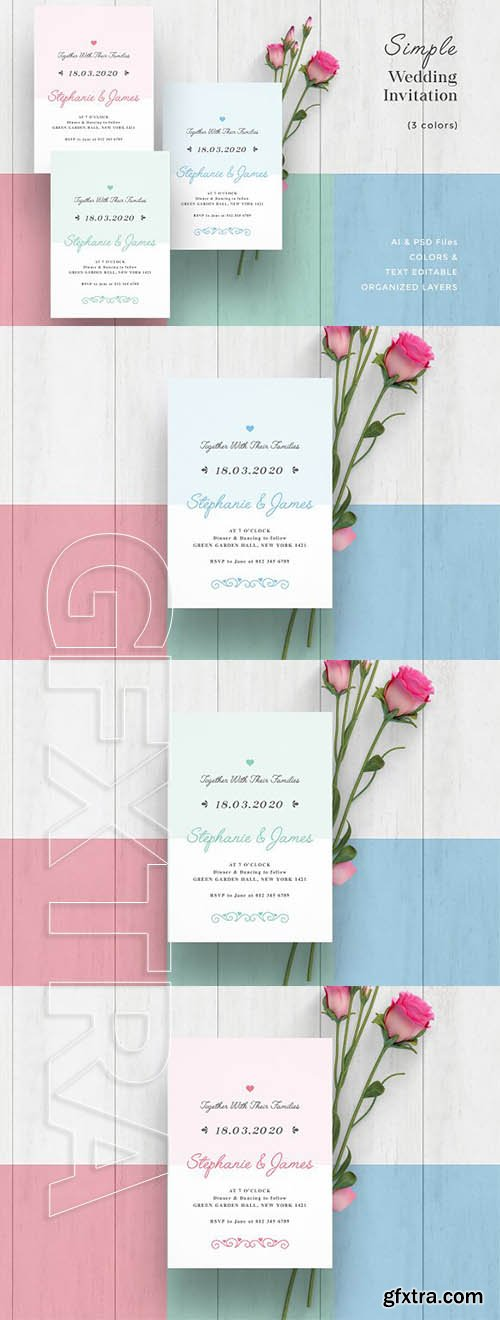 CreativeMarket - Simple Wedding Invitation 2442034