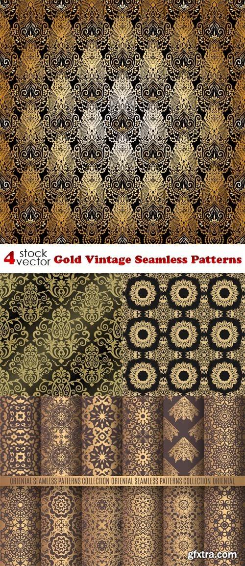 Vectors - Gold Vintage Seamless Patterns
