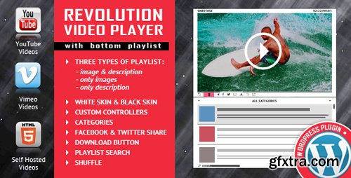 CodeCanyon - Revolution Video Player With Bottom Playlist WordPress Plugin v1.7.1 - YouTube/Vimeo/Self-Hosted Support - 18216139
