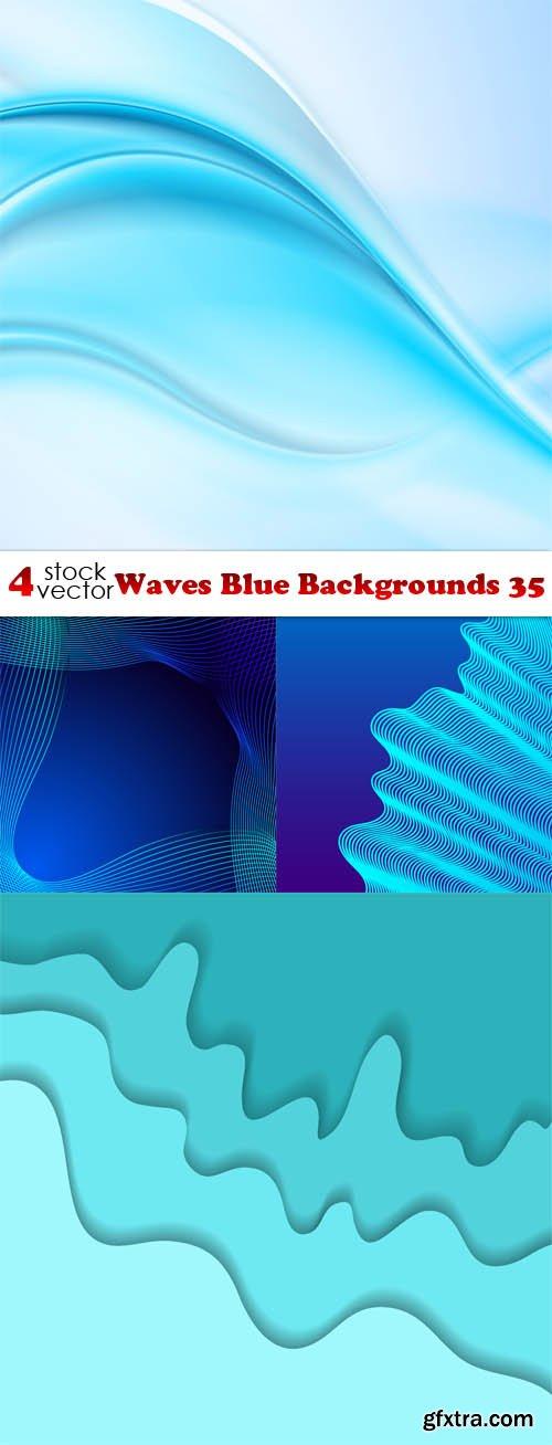 Vectors - Waves Blue Backgrounds 35