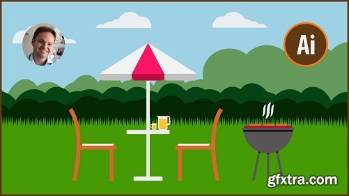 How To Create A Flat Design Garden and BBQ in Adobe Illustrator