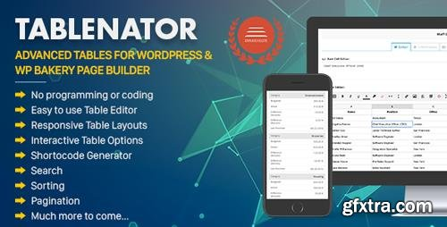 CodeCanyon - Tablenator v2.0.1 - Advanced Tables for WordPress & WP Bakery Page Builder - 18560899