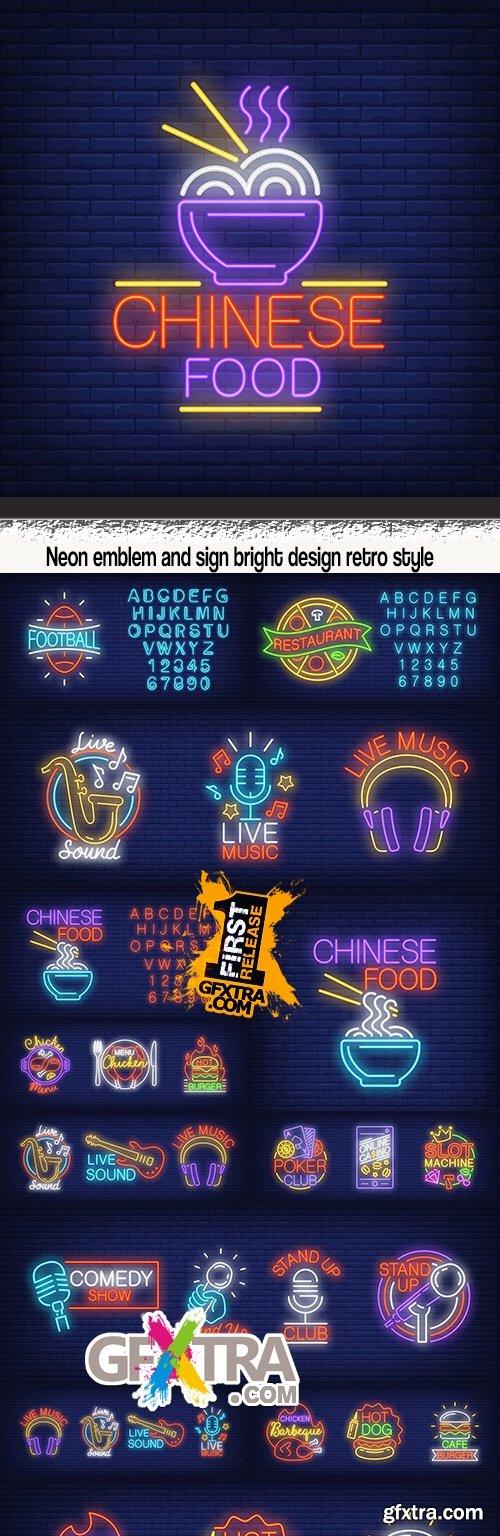 Neon emblem and sign bright design retro style