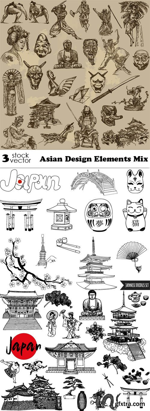 Vectors - Asian Design Elements Mix