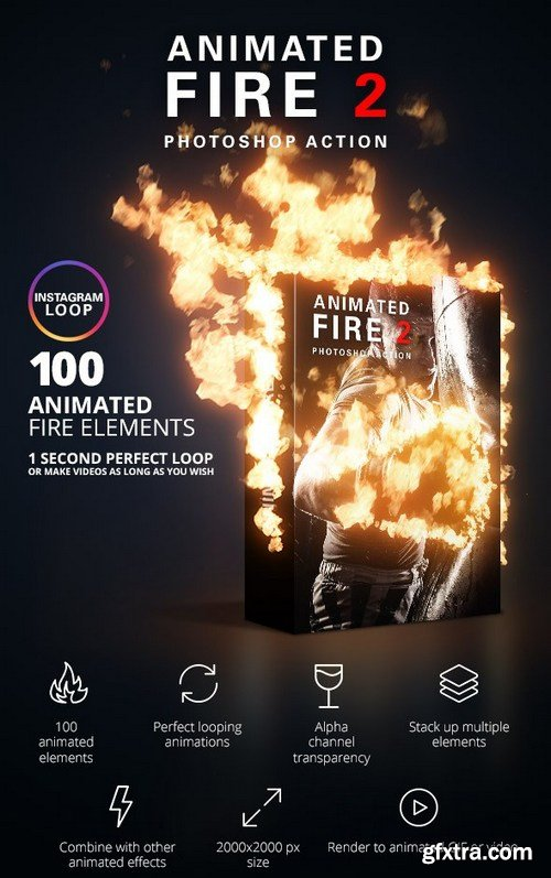 Graphicriver - animated fire 2 photoshop action 22082311