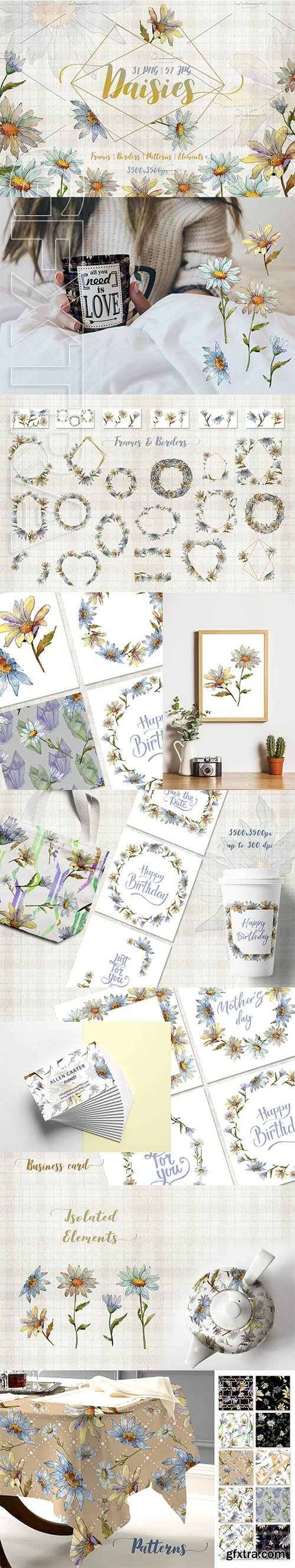 Cool white chamomile PNG watercolor set